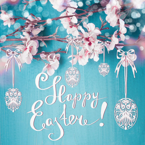 LIFE MAGIC BOX Easter Photo Flowers Blue Wood Background Photophone