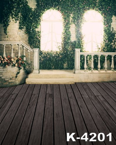 Photographiedigital Studio Backgroundfabricbackdrops 220Cm * 150Cmwood Floors, Stairs Flower Vine