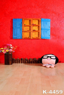 Fundo Fotografico Infantil photo Studio Props Baby fabric backdrops 220Cm * 150Cm red Walls And Wooden Windows