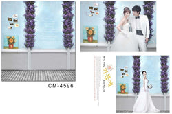 Backdrops With Floor Wood Flooring  Two Bunches Of Purple Flowers On The Wall Cm-4596