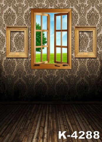 Photography Backdropsphotography Backgroundclothphoto Background 220Cm * 150Cmwood Floor, Two Picture Frames