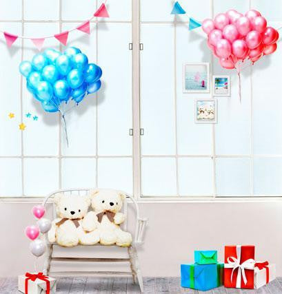 Photo Backdrop With Floor Two Bunches Of Balloons On The Window  Wood Floor Chair Two Teddy Bear Cm-4424