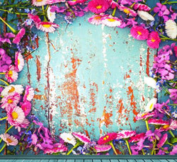 Photography Backdrops Wooden Wall Around Flowers Background Cm-6536