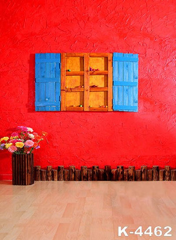 Photography Backdrops vinyl Background Photo cloth photo Background red Walls And Blue Windows Doors Wood Windows