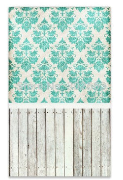 Blue Pattern And Wood Floor Photography Background Good For Photo Shoot  Background Backdrop  For Studio  Ntxr-12