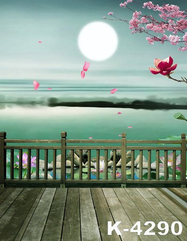 Papel Fotografico Fondos Fotografia Fabric Photo Background The Moon On The Water Wood Fences