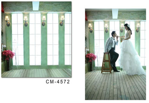 Vinyl Backdrop Photography Wood Flooring  Window Wall Wall Lamp Cm-4572