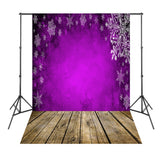 Purple Snowflake Brown Wood Board Photo Background Fotografia Vinyl Backdrops for Photography