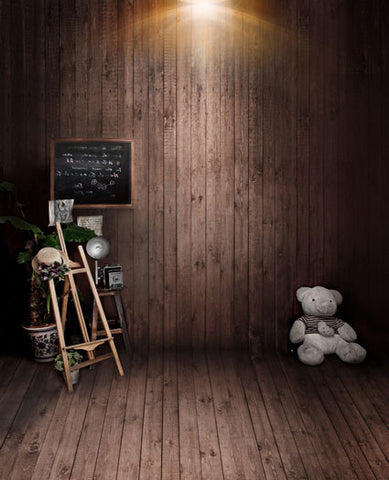 Photography Backdrops Background Wood-Paneled Walls, Hanging Blackboard, Shelves, White Bear Cm-5248