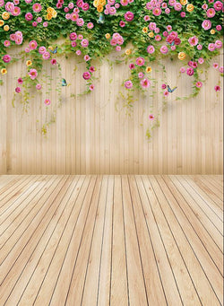 Backdrops For Sale Photo Background Cloth Photo Background 220Cm * 150Cm Beige Wooden Wall   String   Flowers