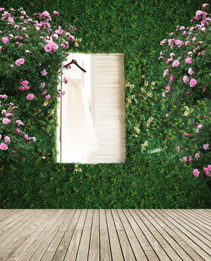 300Cm*200Cm About 10Ft*6.5Ft Backgrounds Wood Floors, Green Leaf Vine Wall, A Window Cm-5243