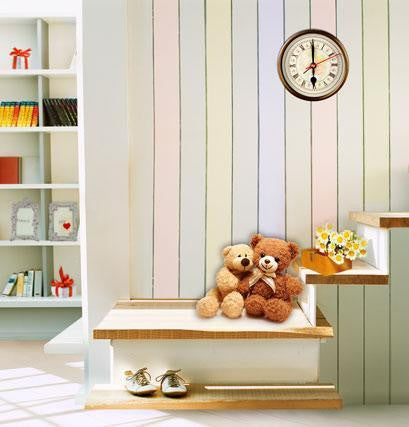 Photo Backdrop Bookcases  Toy Bear On The Steps  Wood Wall Clocks Cm-4465