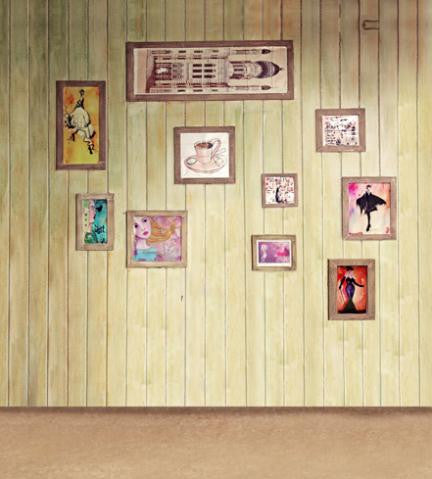 Valentine Day Backdrops Wood Frame Wall Background For Studio Cm-5975
