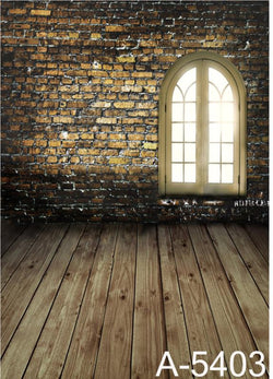 Background Fundos Fotografia Azul Bars Wood Floors, Arched Windows On The Golden Brick Wall  Mh15-403
