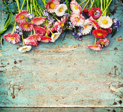 Photography Backdrops Wooden Wall On Top Of The Flowers Background Cm-6538