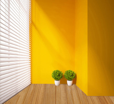 Photography Backdrops Yellow Wall White Wood Blinds Background Cm-6257