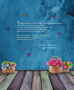 Photography Background 300Cm*200Cm  Blue Butterfly Wooden Wall Photo Background Cm-5589