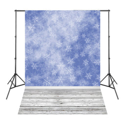 Blue Snowflake White Wood Floor Backdrop Photography Background Vinyl Studio