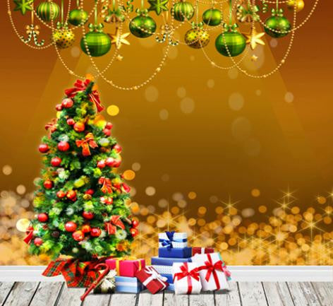 Photography Background 300Cm Christmas Gift Box Wooden Floor Green Balls Hanging On The W Background Cm-6336