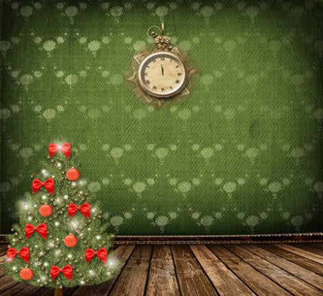 Photography Backdrops Christmas Green Fundo Wall Clocks On The Wooden Floor Background Cm-6547