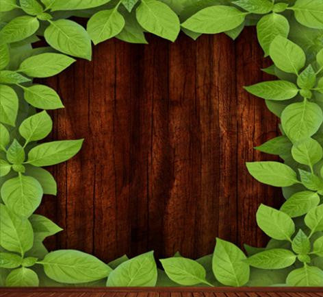 Photography Backdrops Brown Wood-Paneled Walls Surrounding Greenery Background Cm-6544
