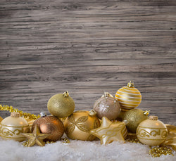 Photography Backdrops Wood-Paneled Walls Of Snow On Snow Golden Ball Background Cm-6535