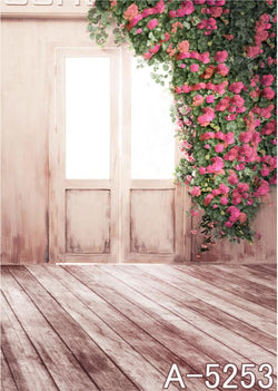 Background Fotografico Wooden Doors With Windows  Flowers Hanging From The Top Right Of The Doors  Mh15-5253