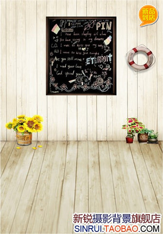 New Arrival Wooden Floor Board Wall Swim Ring Hanging On The Wall Cloth Photography Background