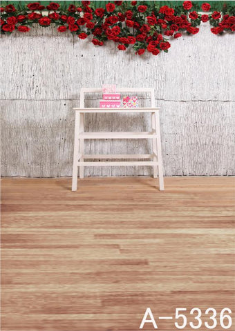 Photography Backdrops Wood Flooring, Wall Red Roses Background Fz1 Photo Studio Mh-5336
