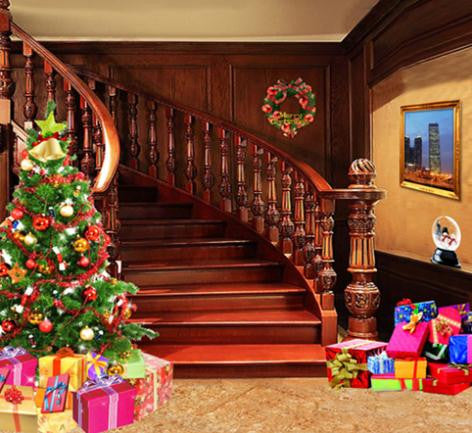 Vinyl Backdrop Christmas Wooden Stairs Leading Background