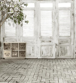 Photography Backdrops White Wooden Door Photography Background Cm-3828