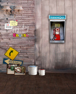 Photography Backdrops 300Cm*200Cm Wall Paint Bucket, Wooden Plank Wall Telephone Box Cm-5261