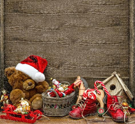 Photography Backdrops Teddy Bear With A Christmas Hat Wooden Walls Shoes Background Cm-6445