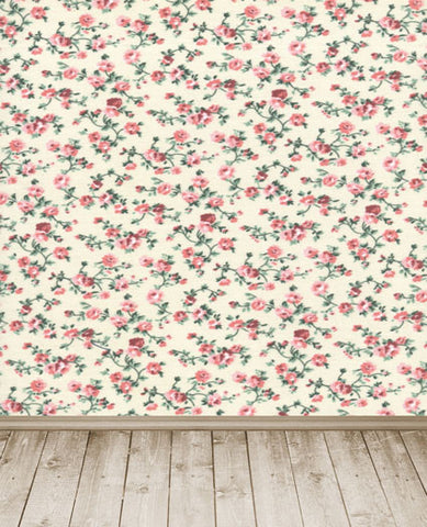 Photography Backdrops Wood Floors, Full Of Small Flower Wall Cm-5342