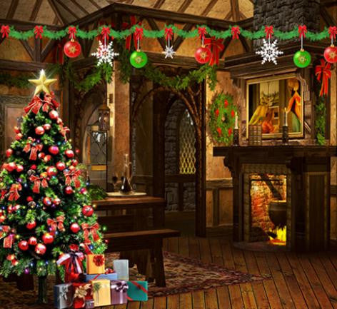 Vinyl Backdrop Christmas Scenery Small Room Wooden