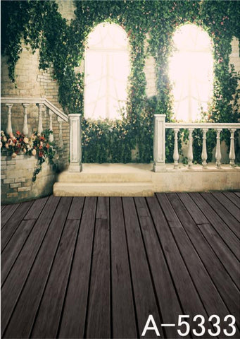 Background Fundo Fotografico De Tecido Bars Wooden Floor, With Windows Full Of Flowers  Mh15-333