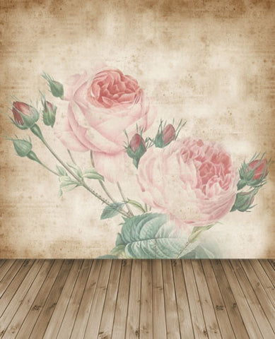 Photography Backdrops Wood Floors, Walls Two Flowers Cm-5341