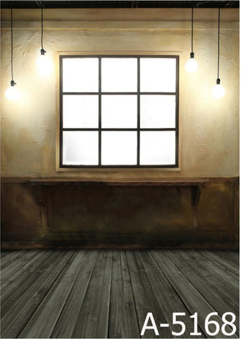 Background Fotografica Wood Flooring, Square Windows, Hung Four Bulbs  Mh15-168