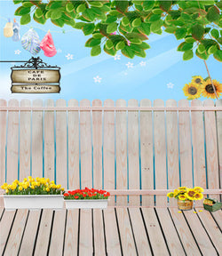 Cloth Photography Background With The Red Flowers And Yellow Flowers On The Wooden Walkway