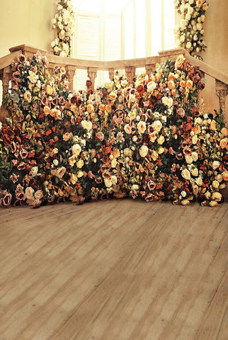 Backdrops Photography Estudio Fotografico Cloth Photo Background Wood Flooring Railing Flowers