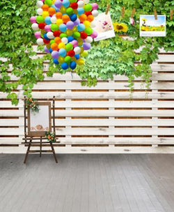 LIFE MAGIC BOX Vinyl Backdrops For Photography  White Wooden Fence Color Balloons Photo Background Cm-5599