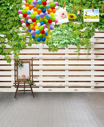 Vinyl Backdrops For Photography  White Wooden Fence Color Balloons Photo Background Cm-5599