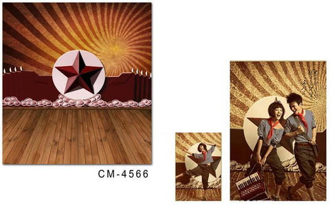 Flower Backdrop With Floor Wood Floor  Red Star In The Middle On Both Sides Of The Wall Red Cm-4566