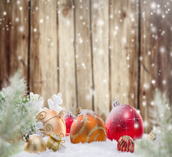 Photography Backdrops Wooden Wall Snow Balls Gift Background Cm-6532