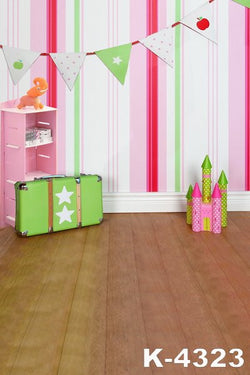 Fond Photographie Studio Background Cloth Backdrops 220Cm * 150Cm Wood Flooring Toys Castle Wall Color Stripes