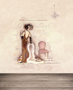 5X7Ft Photography Backdrops Background Wooden Floors Walls Painted Paintings Chairs Back View Of A Woman Cm-5260