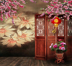Photography Backdrops Screen Doors Of Wood Flooring Flowerpot Background Cm-6214