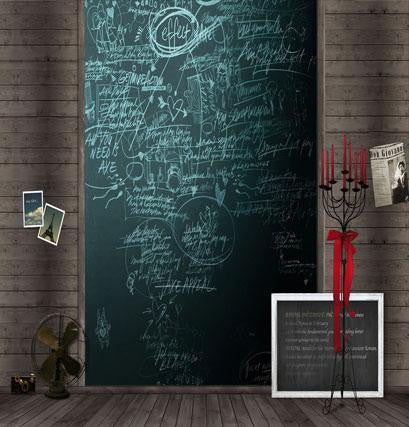 Bokeh Backdrop With Floor Wooden Chalkboard Walls  Candle Shelf Cm-4172