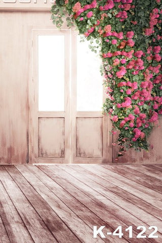 Backgrounds For Photo Studiofond Studio Cloth Backdrops Wood Floors Wooden Door Frames Edge Red Flower Vine
