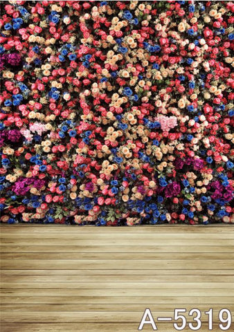 Background Fundo Pascoa Colorful Flower Wall, Wood Floors  Mh15-319